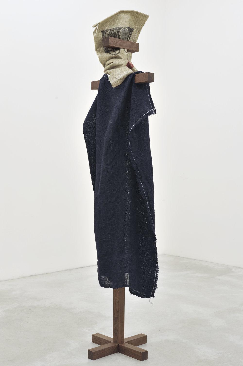 Scarecrow, 2011 walnut frame and burlap sacks 195 x 46 x 46 cm - 76 3/4 x 18 1/8 x 18 1/8 inches