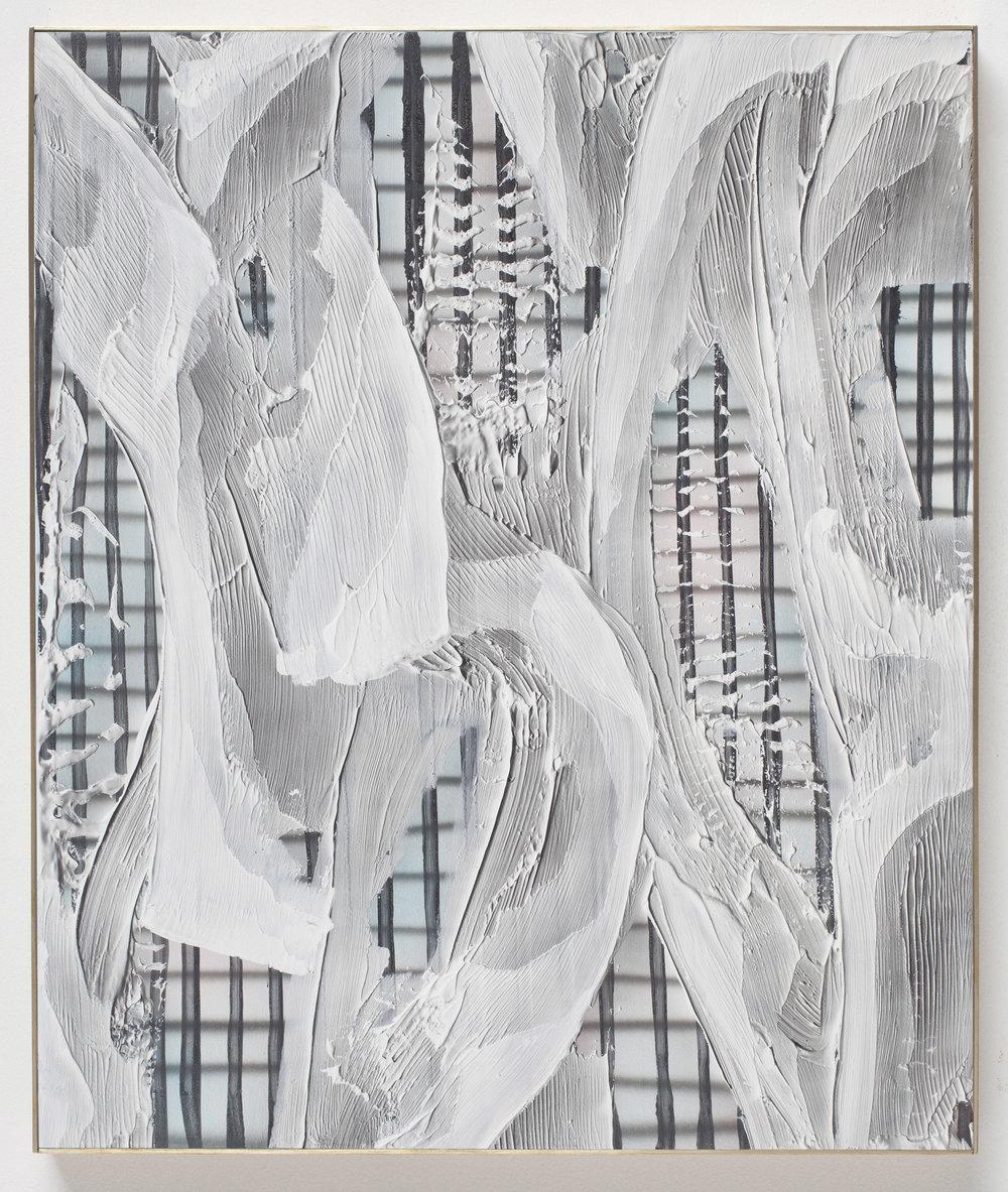 Hot Yoga Pants, 2015 acrylic on birch panel, brass frame 89 x 76,2 cm - 35 x 30 inches