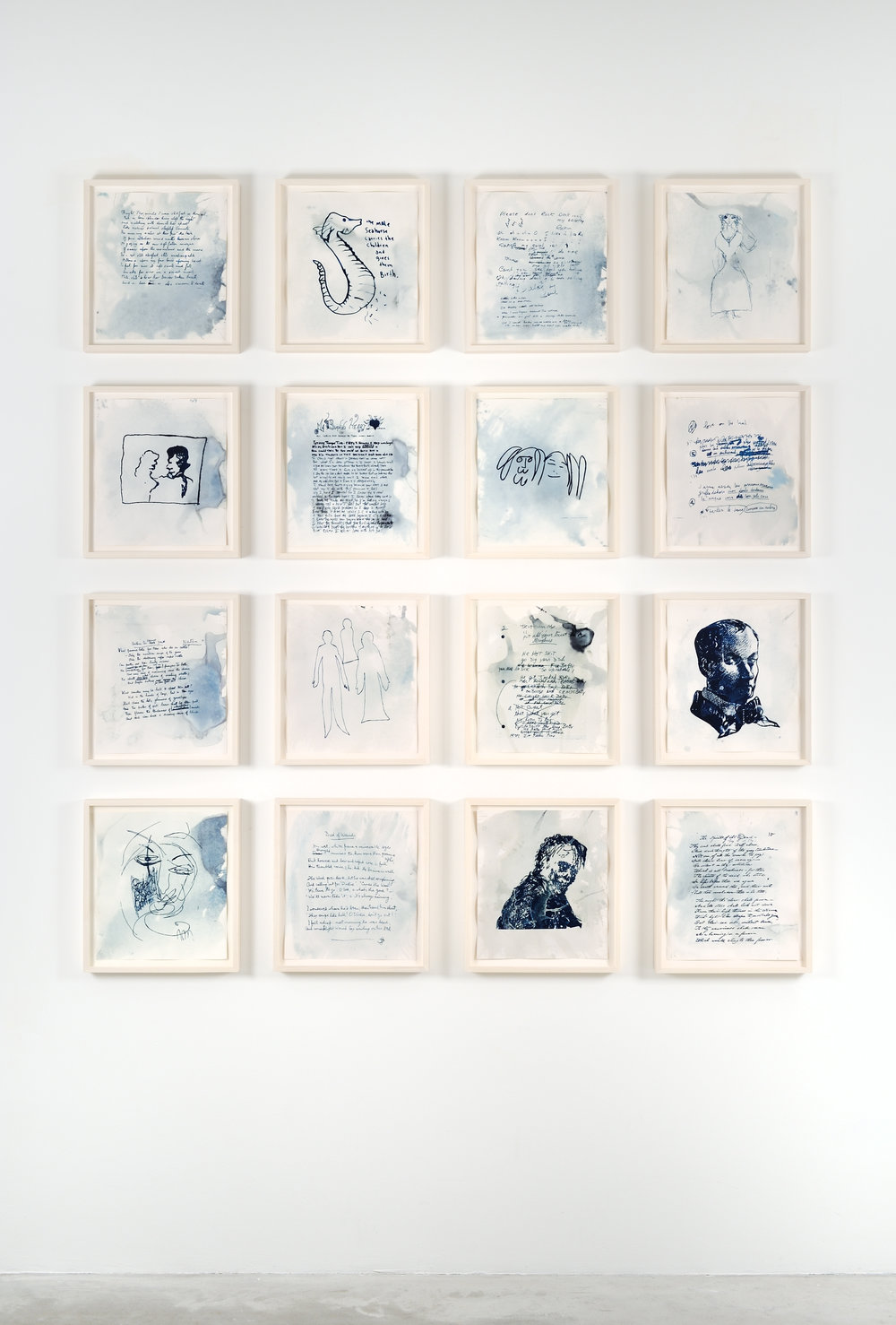 Life, Left to Struggle in The Sun, 2012 cyanotypes, ghost images of original drawings, handwritten lyrics, and poems by now deceased writers, pop stars and poets, sunlight, chlorophyll, ocean water, watercolor paper 38 x 34,3 cm - 15 x 13 1/2 inches (each)