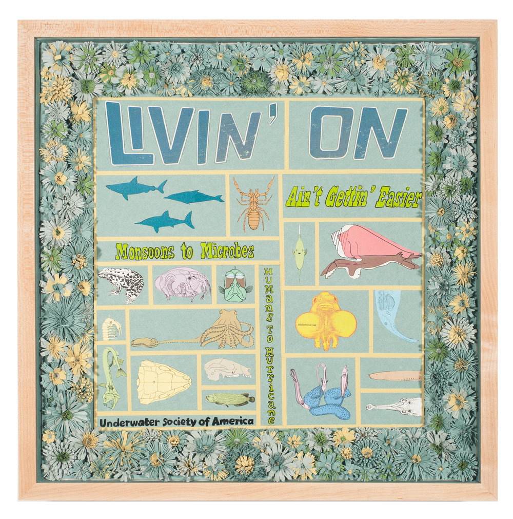 Livin' On Ain't Gettin' Easier, 2012 cut paper, colored pencil, album cover collage elements, glue, foam core 44,5 x 45 cm - 17 1/2 x 17 3/4 inches (framed)