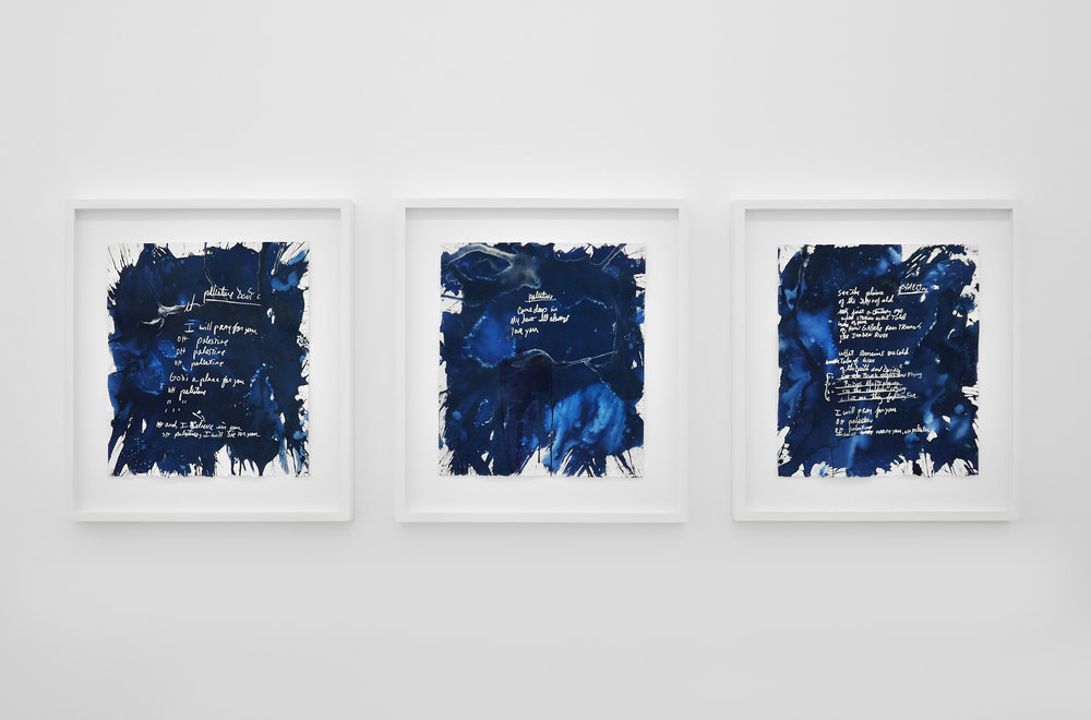 The Sun Makes Him Sing Again (Jackson), 2012 3-part cyanotype, sunlight, ghost images of the original handwritten lyrics of an unreleased Michael Jackson song. Triptych 53,3 x 48,3 cm - 21 x 19 inches (framed) (each)