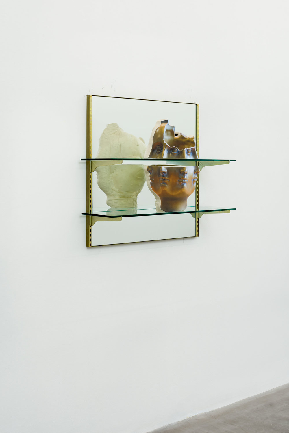 Picnic with Janus, 2017 ceramic with shelve, mirror, and frame 78,5 x 78,5 x 25,5 cm - 30 7/8 x 30 7/8 x 10 inches