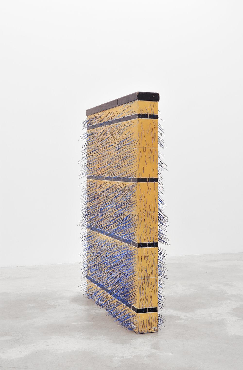 Five O'Clock Shadow, 2014 found wall, plastic bristles, glue 122 x 91,5 x 23 cm - 48 x 36 x 9 inches