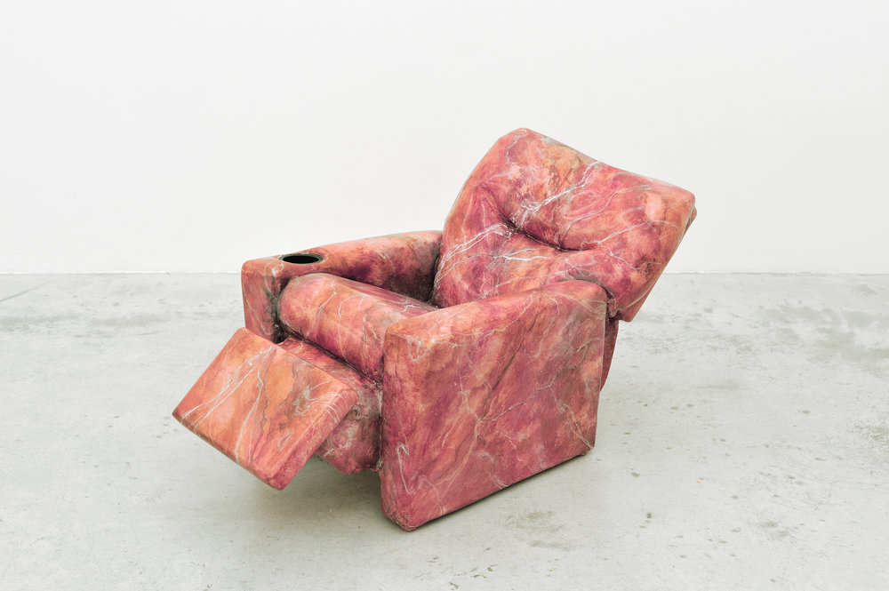 Like A Rock, 2014 found recliner, fiberglass, aqua resin, faux marble finish 61 x 56 x 106,7 cm - 24 x 22 x 42 inches