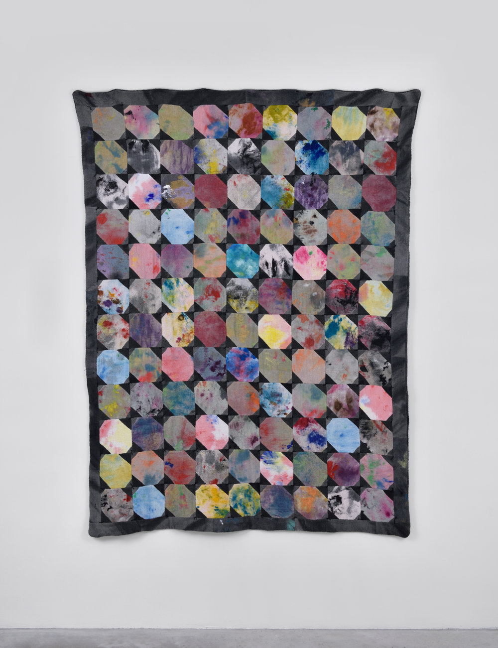 Rag Quilt #2, 2015 studio rags, acrylic and latex paint, thread. Sewn by Gina Ross 185,4 x 134,6 cm - 73 x 53 inches