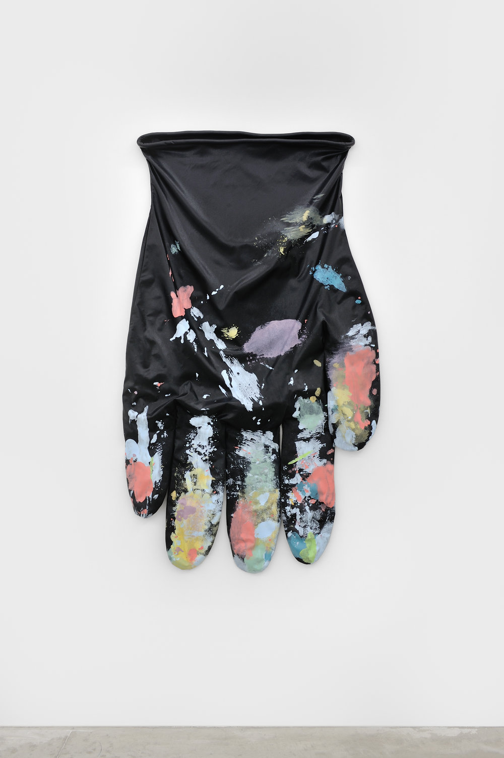 Black Glove Left #1, 2015 stretch sateen, acrylic, acrylic mediums, cotton piping, armature wire 178 x 106,7 cm - 70 x 42 inches