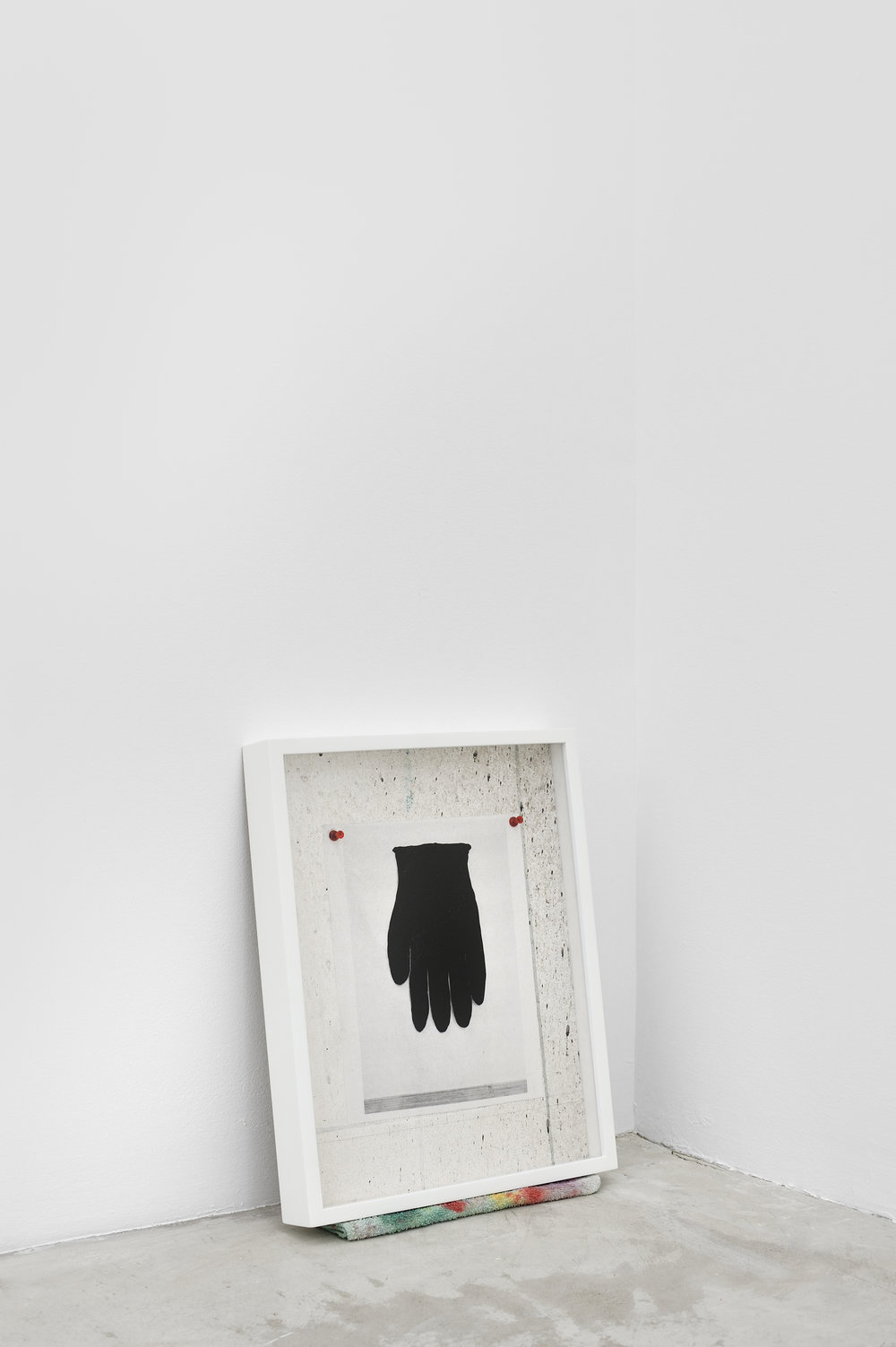 Untitled Still Life (BLACK GLOVE), 2015 sheetrock, latex paint, acrylic, graphite, acrylic on laser print, plastic thumbtacks 43,5 x 34 cm - 17 1/8 x 13 3/8 inches (framed)