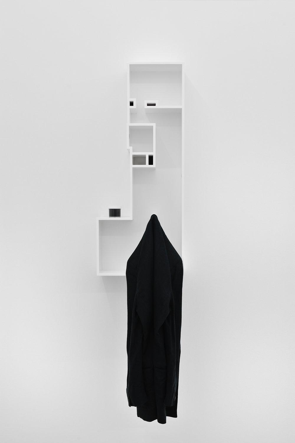 Untitled Model (FINGERPRINTS AND ANNE KLEIN II), 2015 MDF, poplar, enamel paint, acrylic paint in plastic jar, linen Anne Klein II blazer 86,7 x 35,5 x 16,5 cm - 34 1/8 x 14 x 6 1/2 inches