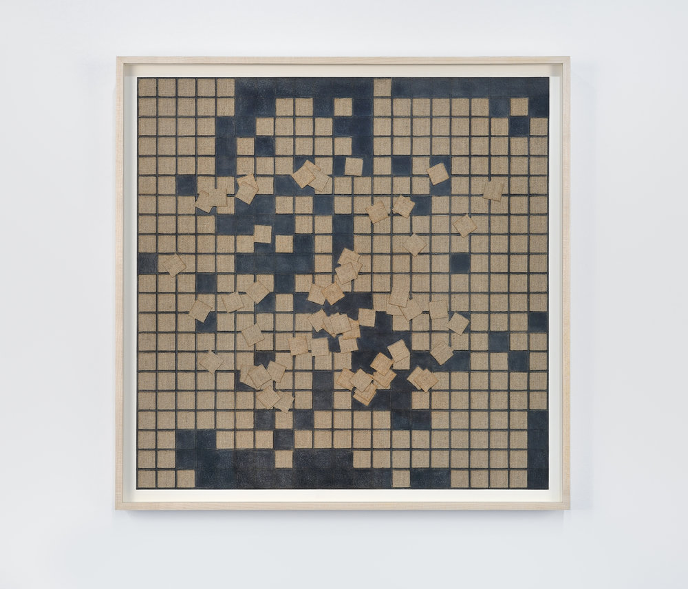 Grid with Unorganized Areas (21 x 21) #2, 2014 linen and graphite on paper 50 x 50 cm - 19 3/4 x 19 3/4 inches
