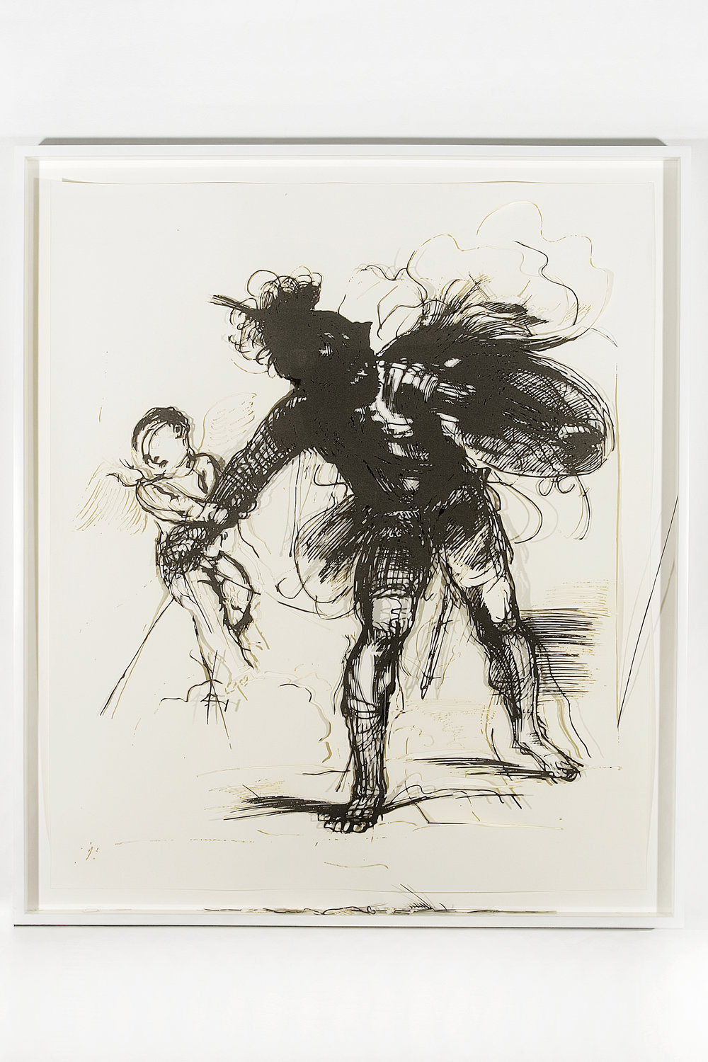 """Collapsed Drawing: """"Cupid Restraining Mars"""" (Guercino), 2007 laser-cut paper and laser-cut archival digital print mounted on museum board 115,5 x 100 cm - 45 1/2 x 39 3/8 inches (framed)"""