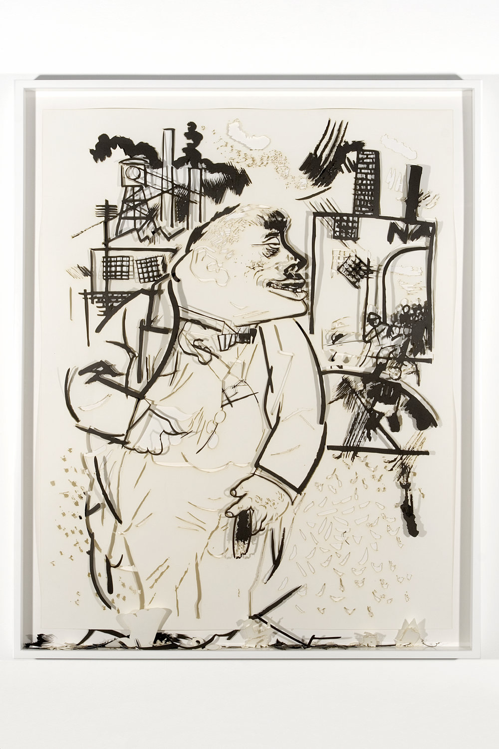 """Collapsed Drawing: """"On his own power"""" (George Grosz), 2007 laser-cut paper and laser-cut archival digital print mounted on museum board 111,5 x 90 cm - 43 7/8 x 35 3/8 inches (framed)"""