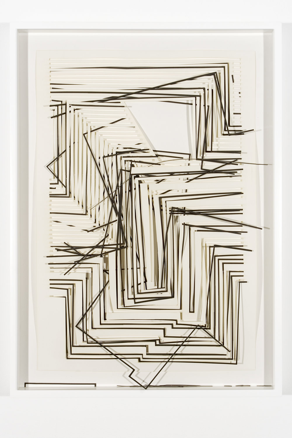 """Collapsed Drawing: """"Graphic Tectonic III"""" (Josef Albers), 2007 laser-cut paper and laser-cut archival digital print mounted on museum board 76,5 x 55,3 cm - 30 1/8 x 21 3/4 inches (framed)"""