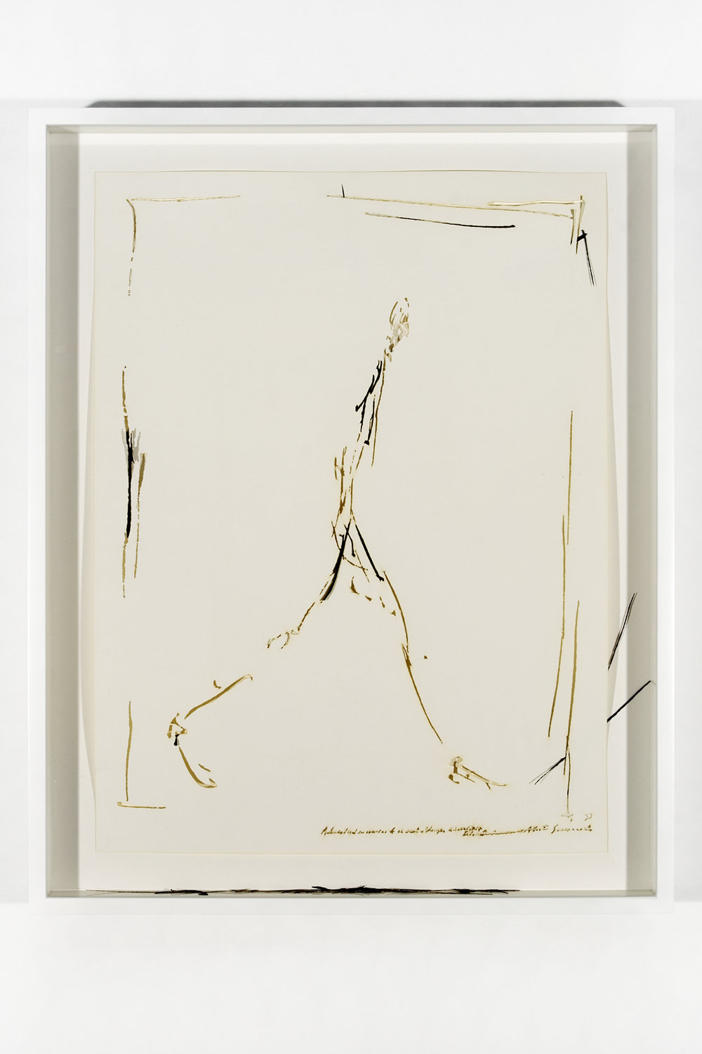 """Collapsed Drawing: """"L'homme qui marche"""" (Alberto Giacometti), 2007 laser-cut paper and laser-cut archival digital print mounted on museum board 70,4 x 55,5 cm - 27 3/4 x 21 7/8 inches (framed)"""