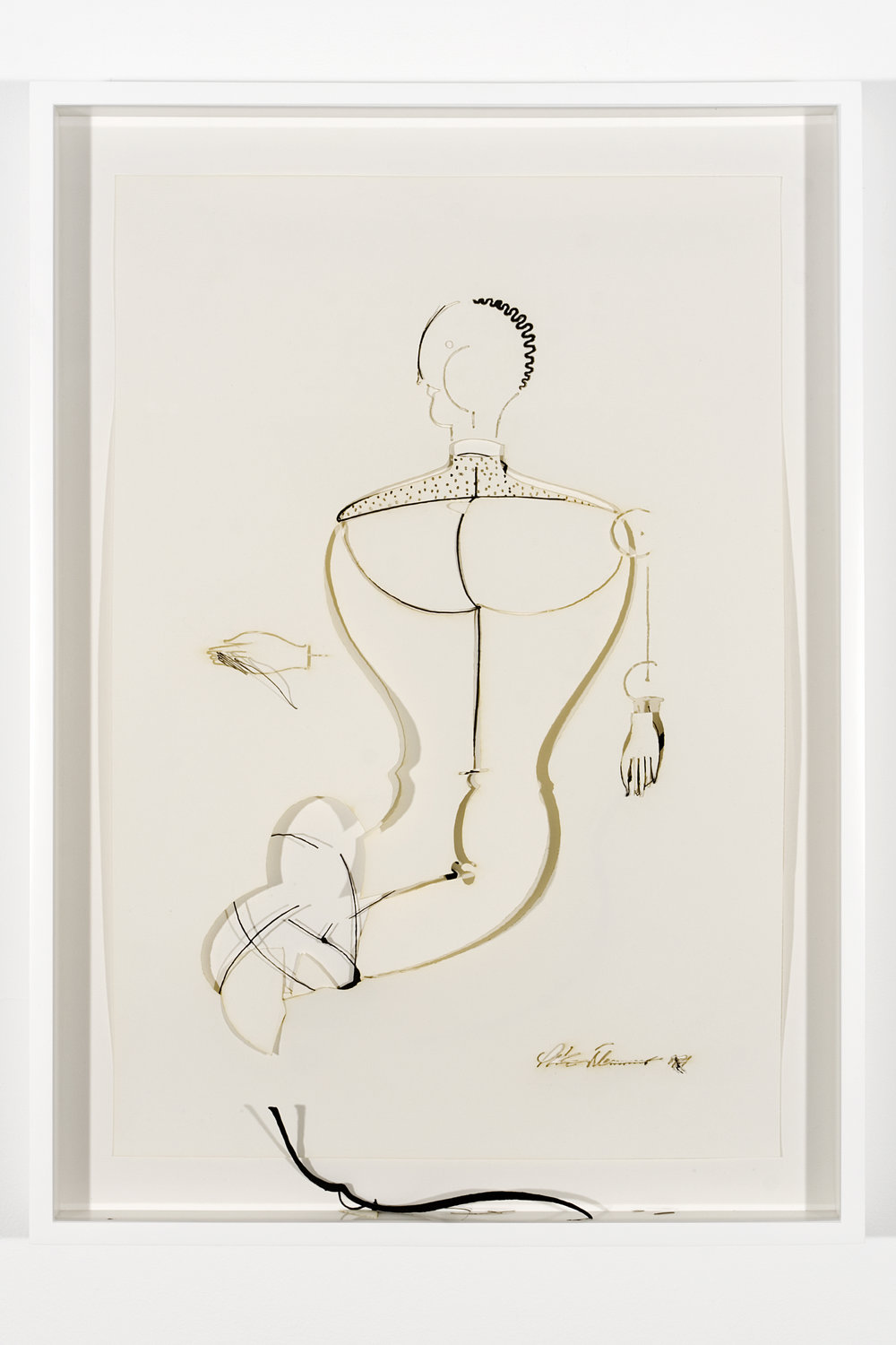 """Collapsed Drawing: """"Abstrakte Figur, Kopf Mach Links"""" (Oskar Schlemmer), 2007 laser-cut paper and laser-cut archival digital print mounted on museum board 72,5 x 52,2 cm - 28 1/2 x 20 1/2 inches (framed)"""