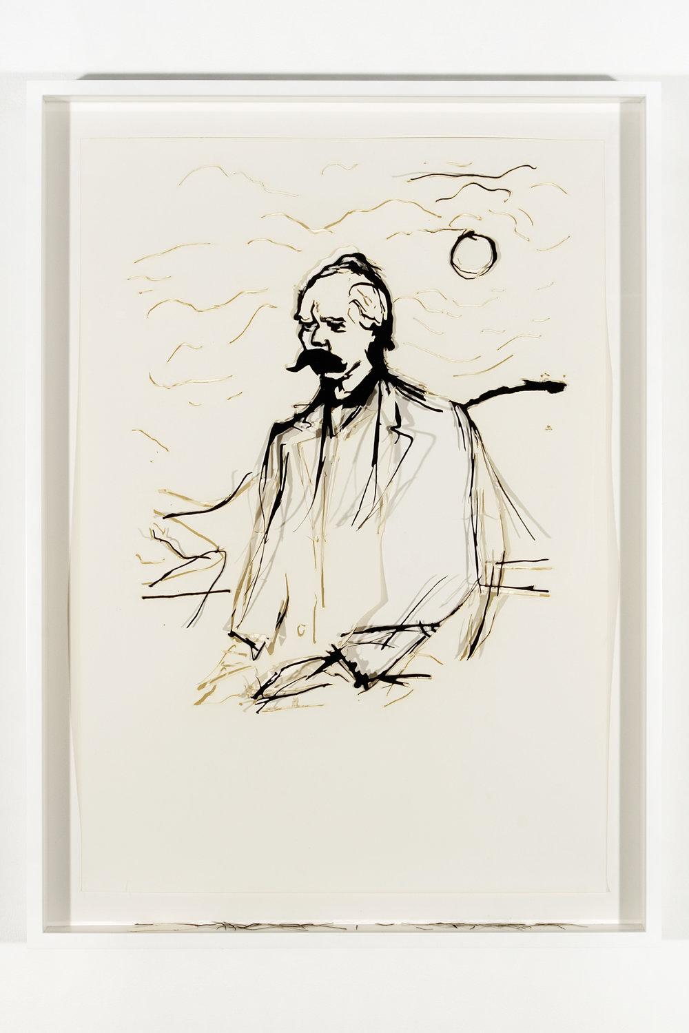 """Collapsed Drawing: """"Friedrich Nietzsche"""" (Edvard Munch), 2007 laser-cut paper and laser-cut archival digital print mounted on museum board 86 x 63 cm - 33 7/8 x 24 3/4 inches (framed)"""