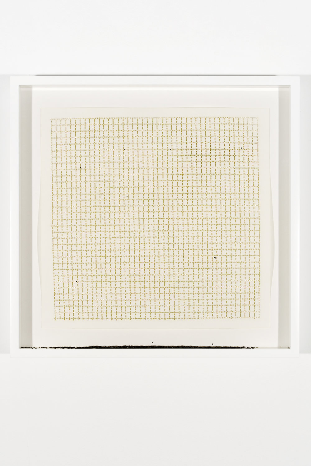 """Collapsed Drawing: """"Untitled"""" (Agnes Martin), 2007 laser-cut paper and laser-cut archival digital print mounted on museum board 49 x 50,3 cm - 19 1/4 x 19 3/4 inches (framed)"""