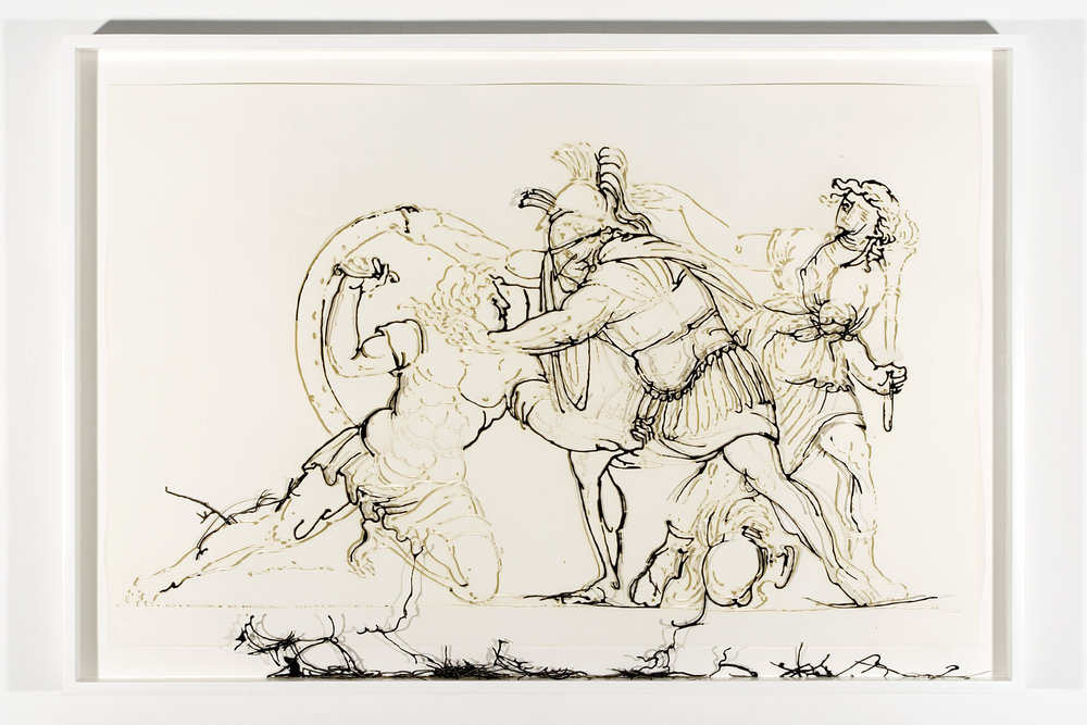 """Collapsed Drawing: """"Combat"""" (Jacques-Louis David), 2007 laser-cut paper and laser-cut archival digital print mounted on museum board 77,5 x 113,2 cm - 30 1/2 x 44 5/8 inches (framed)"""