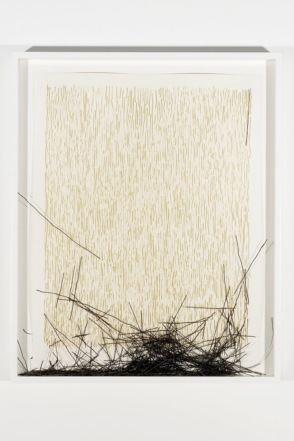 """Collapsed Drawing: """"Vertical Lines, Not Straight, Not Touching"""" (Sol Lewitt), 2007 laser-cut paper and laser-cut archival digital print mounted on museum board 80 x 65,4 cm - 31 1/2 x 25 3/4 inches (framed)"""