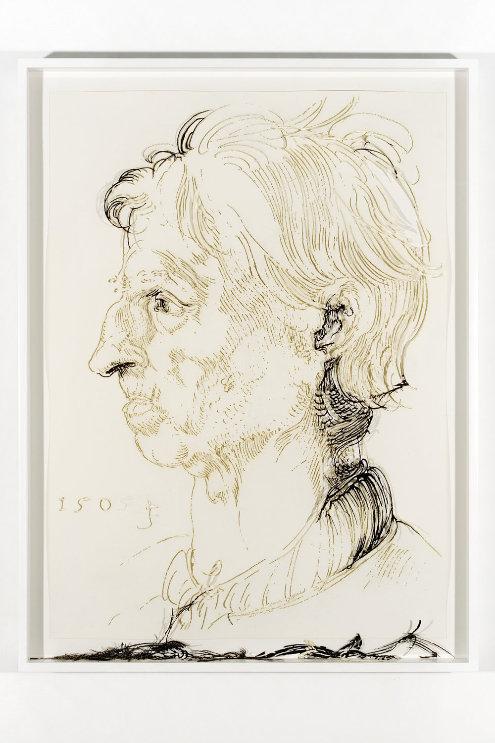 """Collapsed Drawing: """"Head of a Man"""" (Albert Durer), 2007 laser-cut paper and laser-cut archival digital print mounted on museum board 100 x 75 cm - 39 1/4 x 29 1/2 inches (framed)"""