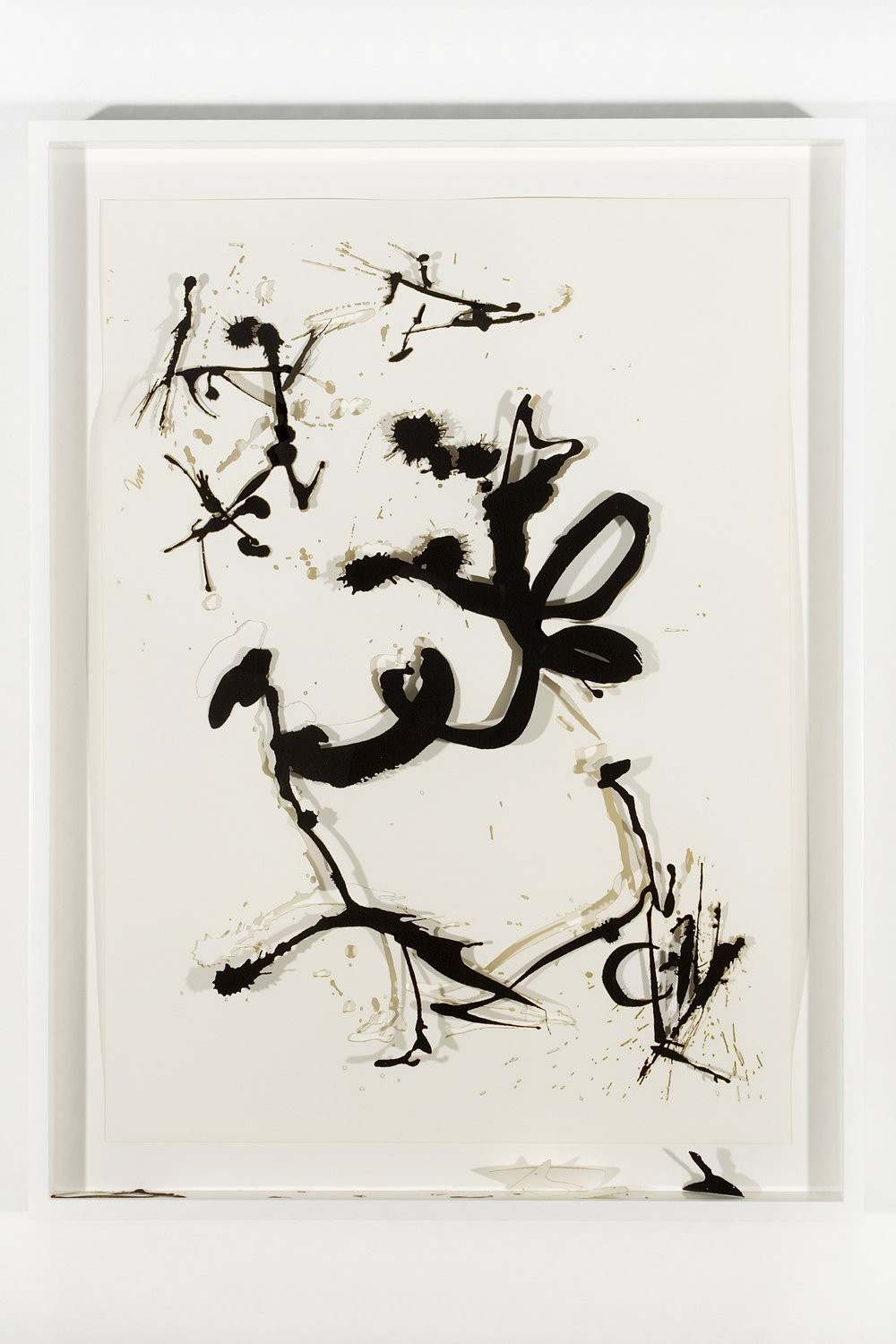 """Collapsed Drawing: """"Unknown Title"""" (Jackson Pollock), 2007 laser-cut paper and laser-cut archival digital print mounted on museum board 79,5 x 60,4 cm - 31 1/4 x 23 3/4 inches (framed)"""
