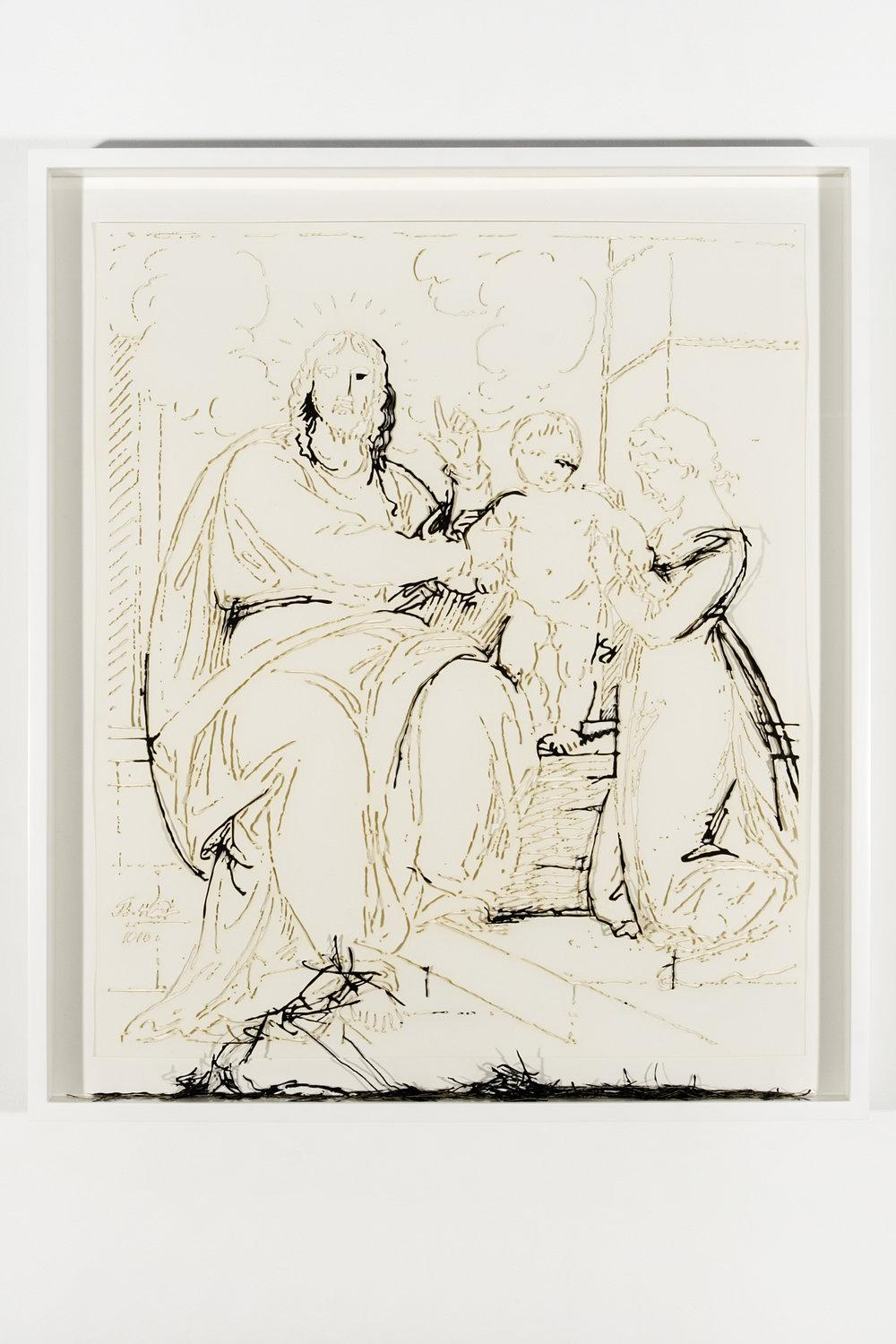 """Collapsed Drawing: """"Christ Showing a Little Child as The Emblem of Heaven"""" (Benjamin West), 2007 laser-cut paper and laser-cut archival digital print mounted on museum board 66 x 56 cm - 26 x 22 inches (framed)"""