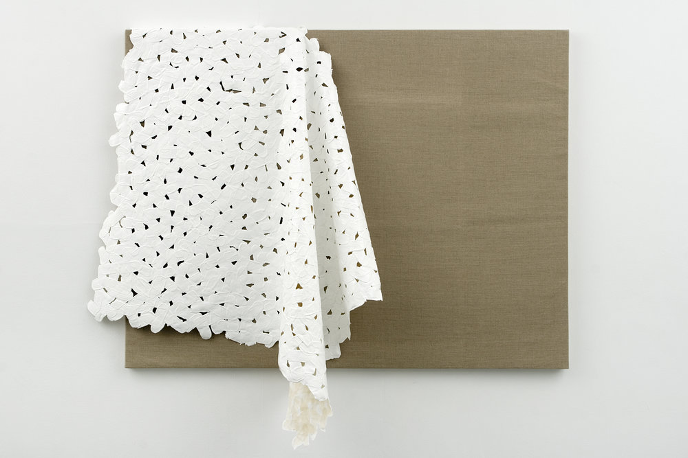 Slippage #2, 2007 acrylic on linen hinging tape, cotton cloth and ph neutral glue hanging on linen canvas on panel 101,6 x 132,8 cm - 40 x 52 1/4 inches
