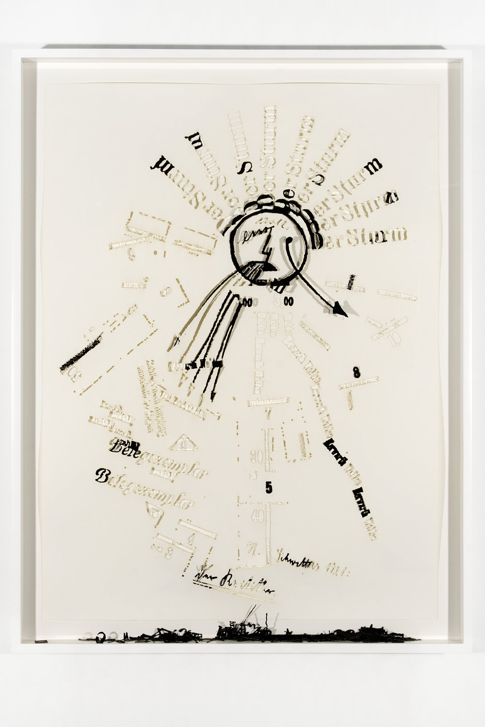 """Collapsed Drawing: """"The Critic"""" (Kurt Schwitters), 2007 laser-cut paper and laser-cut archival digital print mounted on museum board 98,5 x 75,3 cm - 38 3/4 x 29 5/8 inches (framed)"""