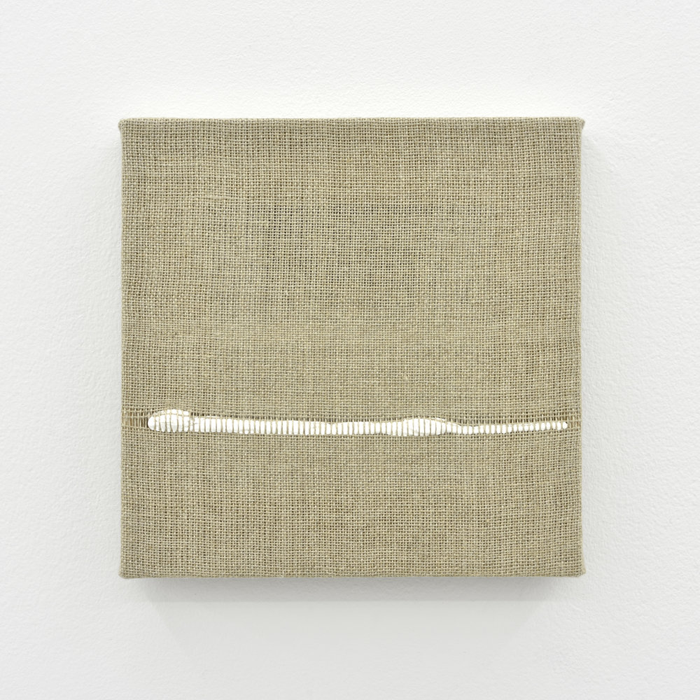 Composition for Woven Horizon Line (White), 2017 acrylic paint woven through linen 20 x 20 x 2 cm - 7 7/8 x 7 7/8 x 0 3/4 inches