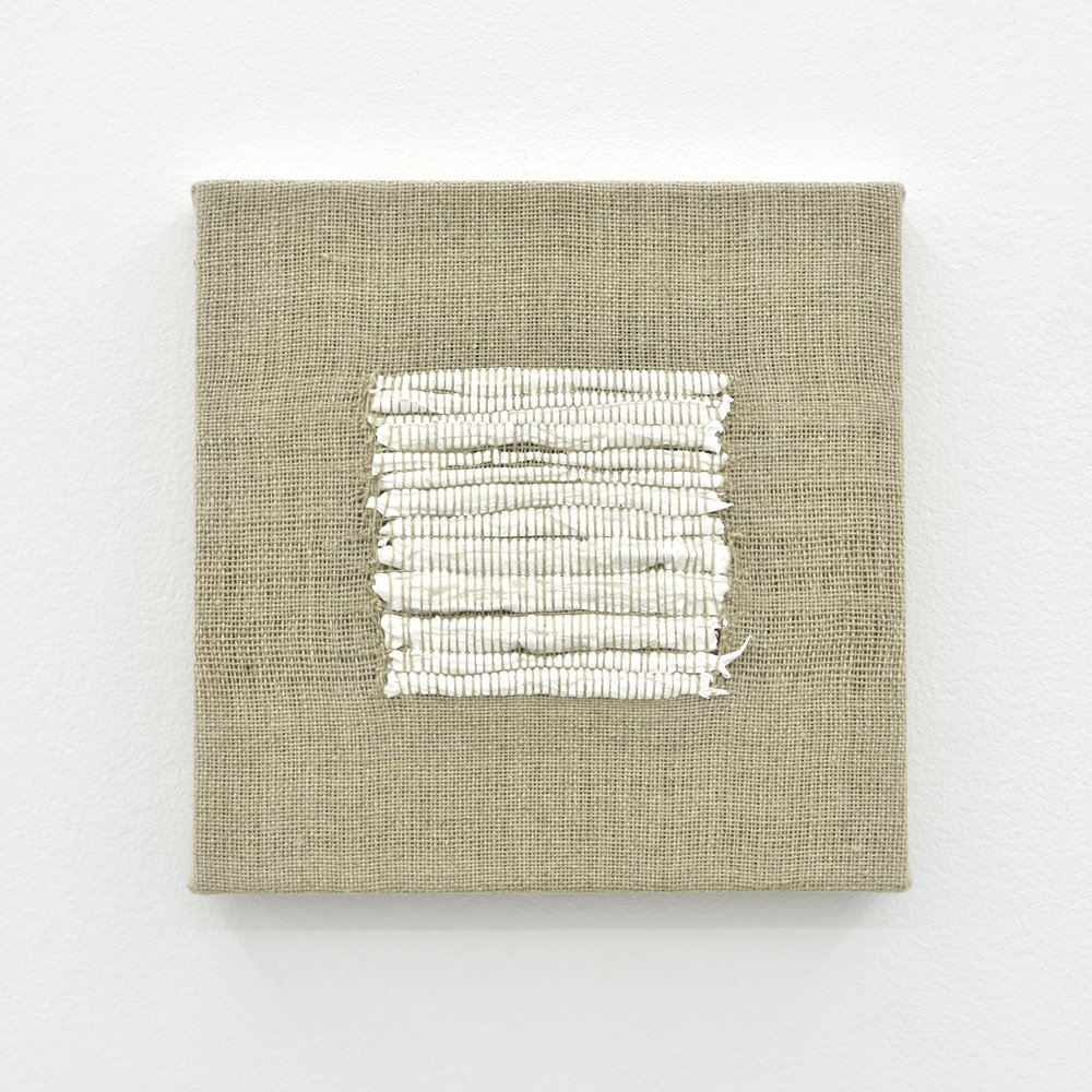 Composition for Woven Square Solid (White), 2017 acrylic paint woven through linen 20 x 20 x 2 cm - 7 7/8 x 7 7/8 x 0 3/4 inches
