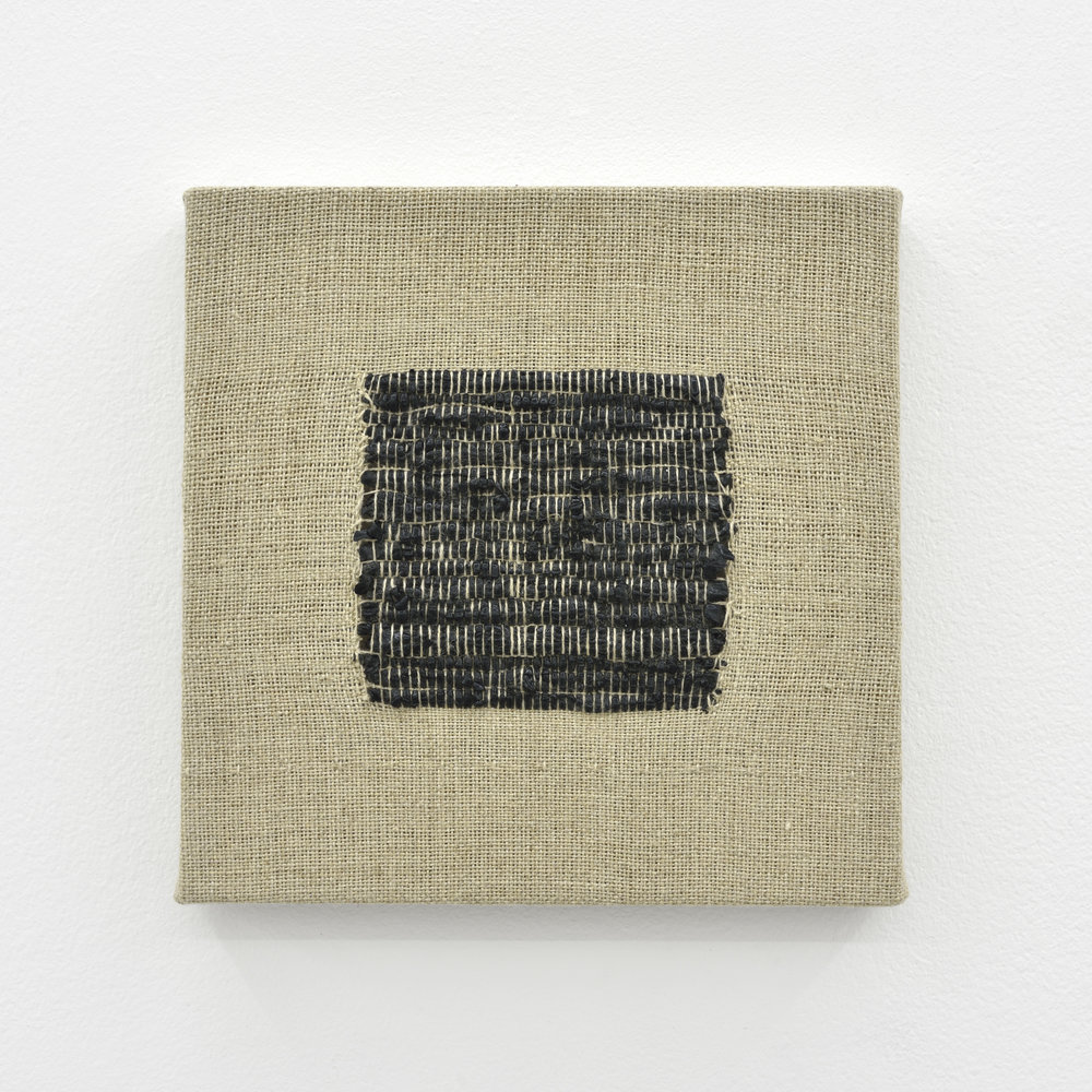 Composition for Woven Square Solid (Black), 2017 acrylic paint woven through linen 20 x 20 x 2 cm - 7 7/8 x 7 7/8 x 0 3/4 inches