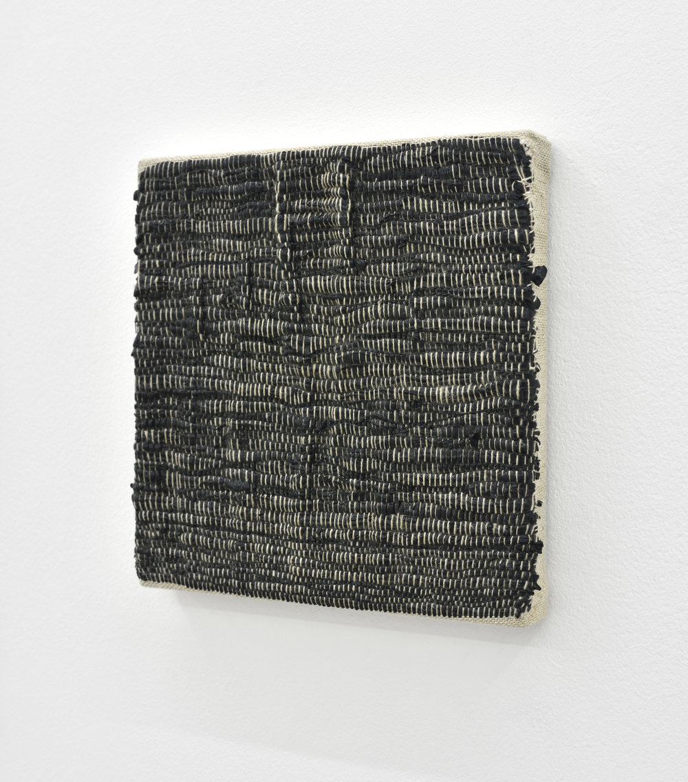 Composition for Woven Solid (Black), 2017 acrylic paint woven through linen 20 x 20 x 2 cm - 7 7/8 x 7 7/8 x 0 3/4 inches