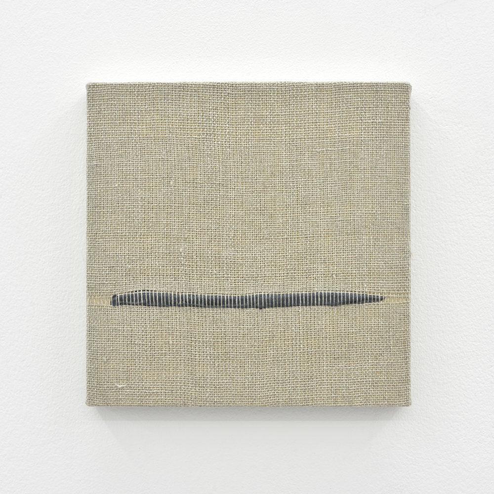 Composition for Woven Horizon Line (Gray), 2017 acrylic paint woven through linen on panel 20 x 20 x 3 cm - 7 7/8 x 7 7/8 x 1 1/8 inches