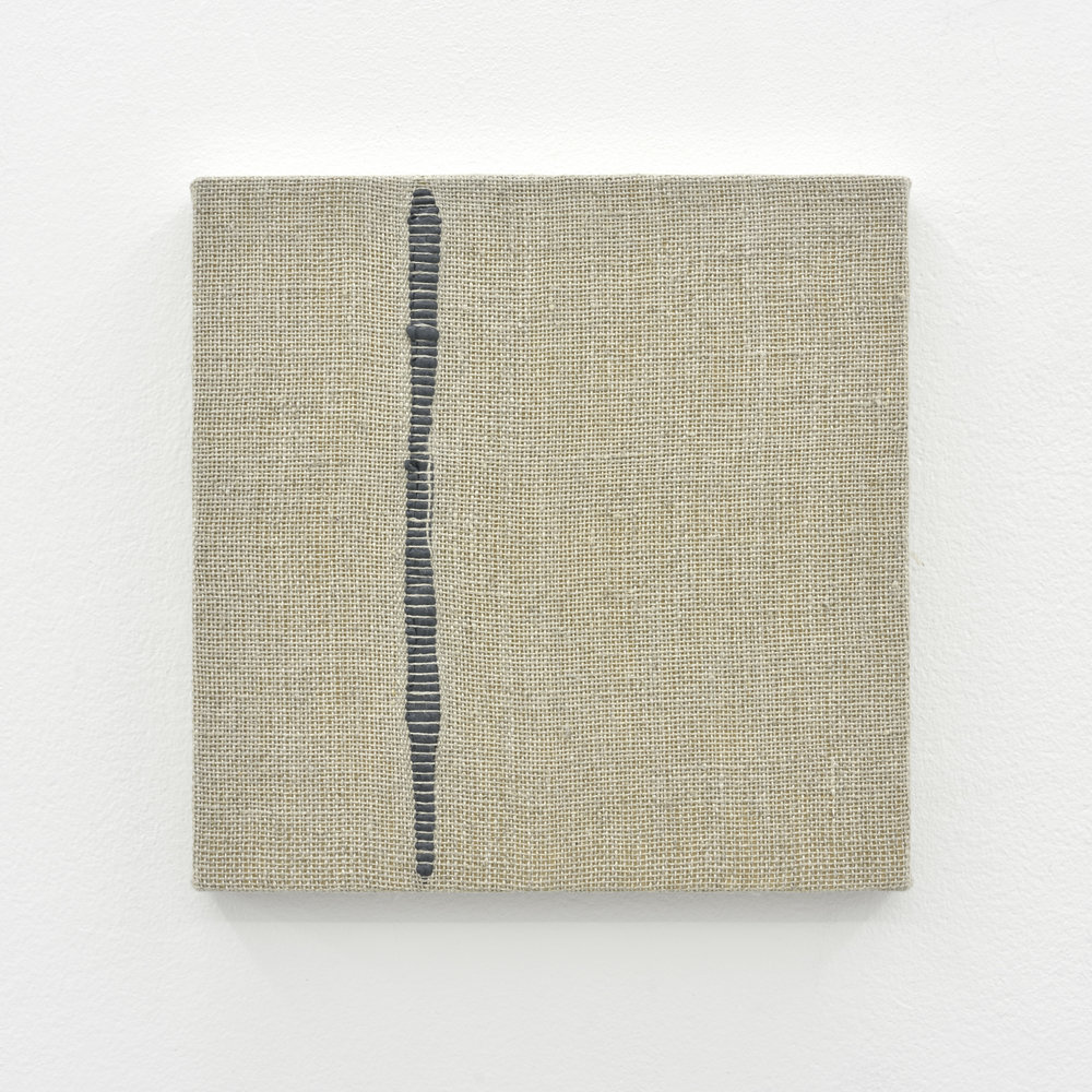 Composition for Woven Vertical Line (Gray), 2017 acrylic paint woven through linen on panel 20 x 20 x 3 cm - 7 7/8 x 7 7/8 x 1 1/8 inches