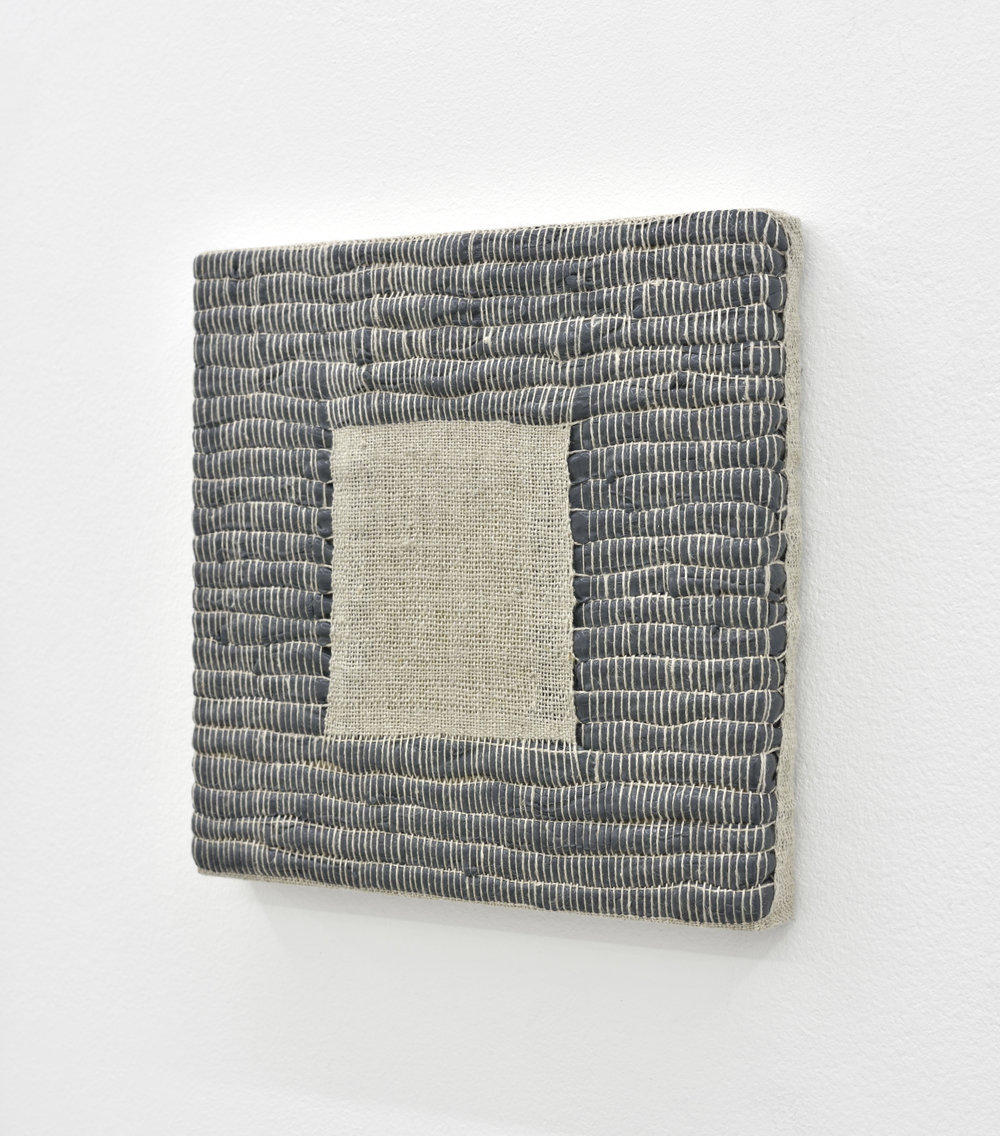 Composition for Woven Square Negative (Gray), 2017 acrylic paint woven through linen on panel 20 x 20 x 3 cm - 7 7/8 x 7 7/8 x 1 1/8 inches