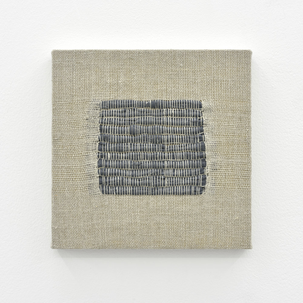 Composition for Woven Square Solid (Gray), 2017 acrylic paint woven through linen on panel 20 x 20 x 3 cm - 7 7/8 x 7 7/8 x 1 1/8 inches