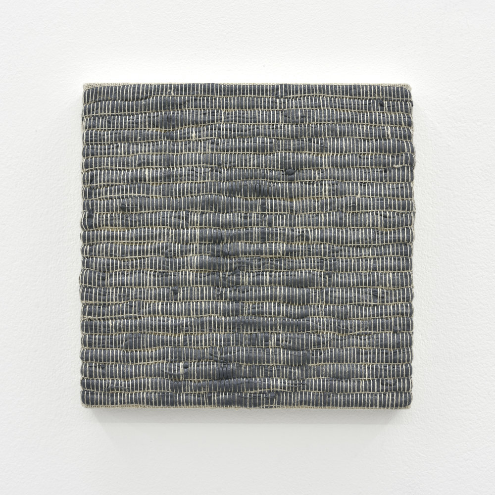 Composition for Woven Solid (Gray) #1, 2017 acrylic paint woven through linen on panel 20 x 20 x 3 cm - 7 7/8 x 7 7/8 x 1 1/8 inches