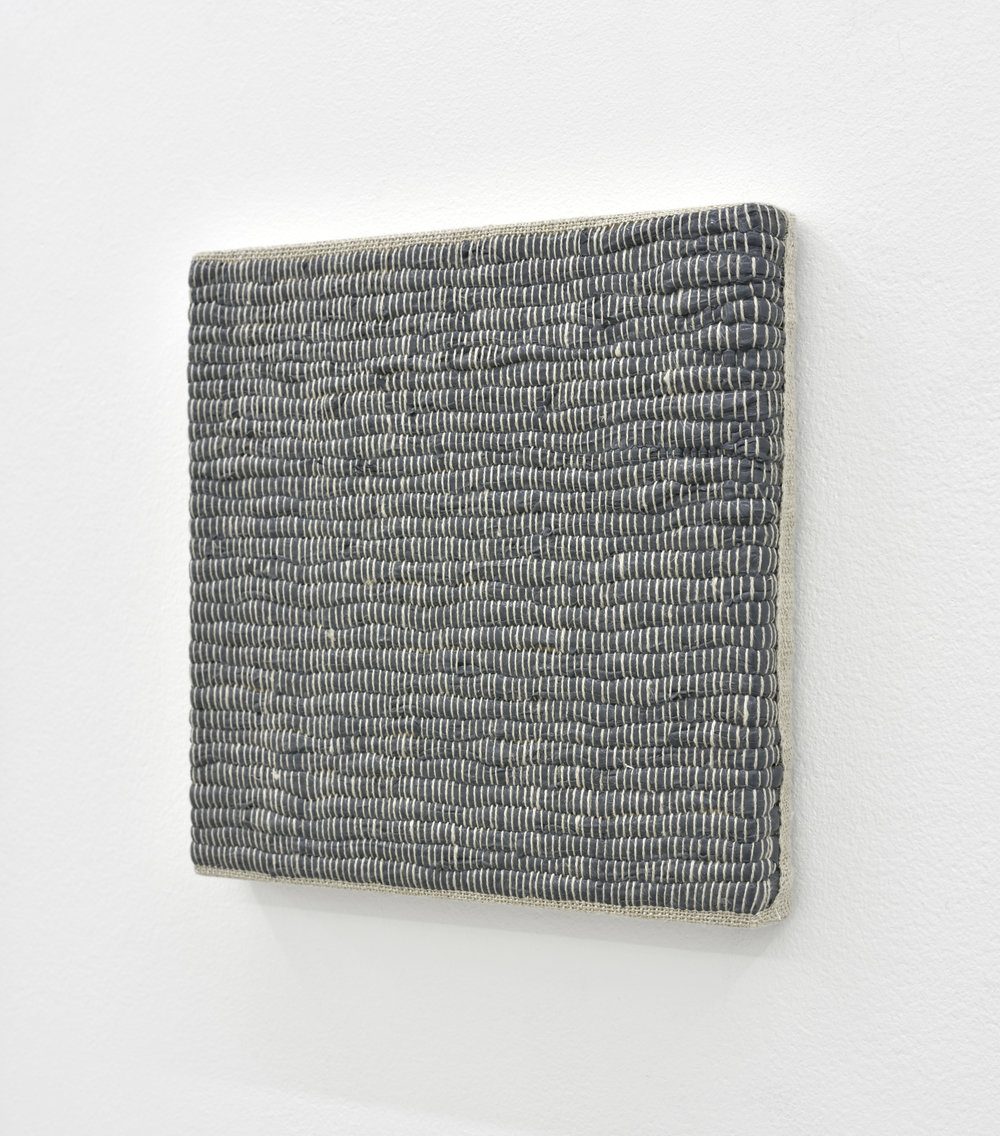 Composition for Woven Solid (Gray) #2, 2017 acrylic paint woven through linen on panel 20 x 20 x 3 cm - 7 7/8 x 7 7/8 x 1 1/8 inches