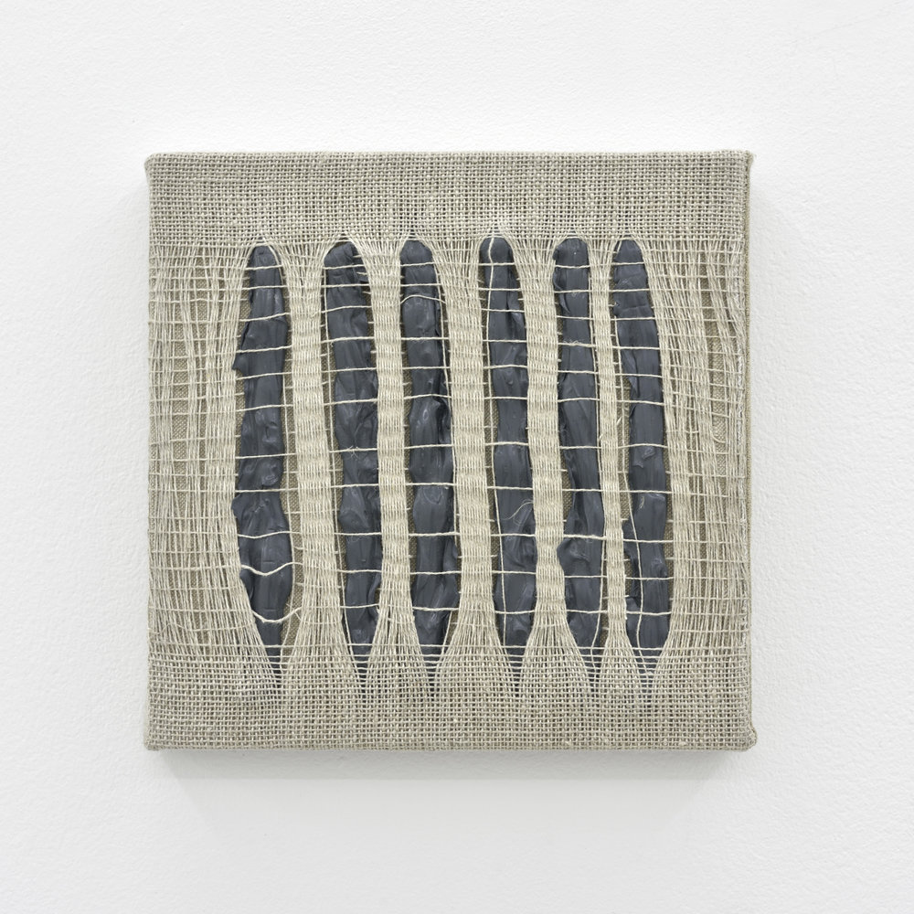 Weaving Density Study, Stage #1 (Gray), 2017 acrylic paint woven through linen on panel 20 x 20 x 3,5 cm - 7 7/8 x 7 7/8 x 1 3/8 inches