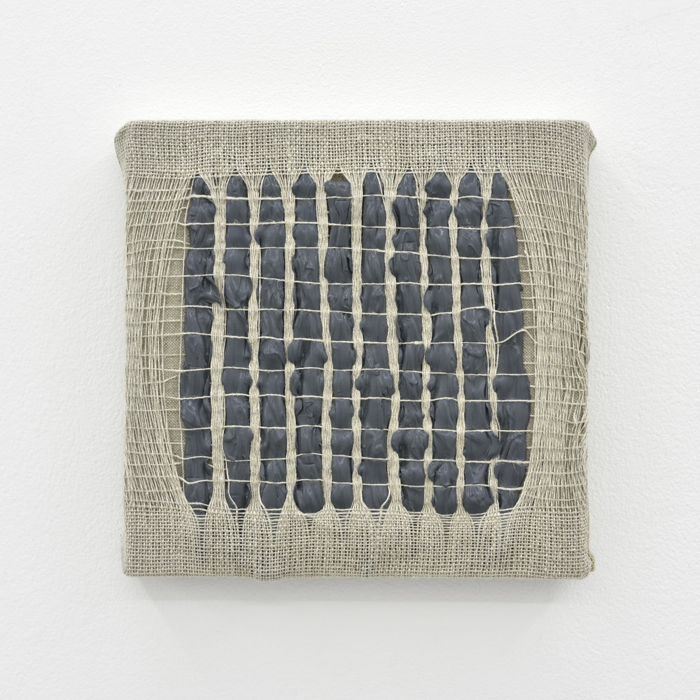 Weaving Density Study, Stage #2 (Gray), 2017 acrylic paint woven through linen on panel 20 x 20 x 3,5 cm - 7 7/8 x 7 7/8 x 1 3/8 inches