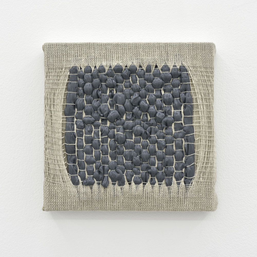 Weaving Density Study, Stage #4 (Gray), 2017 acrylic paint woven through linen on panel 20 x 20 x 3,5 cm - 7 7/8 x 7 7/8 x 1 3/8 inches