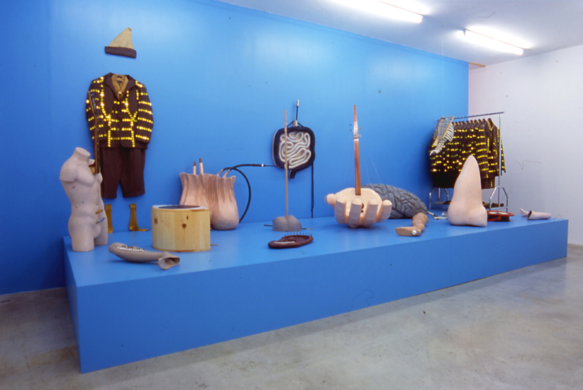 The Rite of the 360 Degrees, 2002 14 uniforms (coats, hats, shirts, socks & ties); 14 musical instruments sculptures in fiberglass with bow, reeds, metal and plastic mouthpieces, plastic tubing, metal strings, wood mallets variable dimensions
