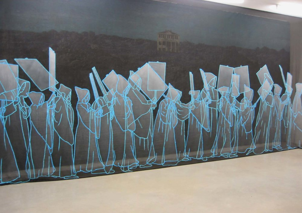 Left Behind #2, 2005 acrylic on fabric 320 x 700 cm - 126 x 275 5/8 inches