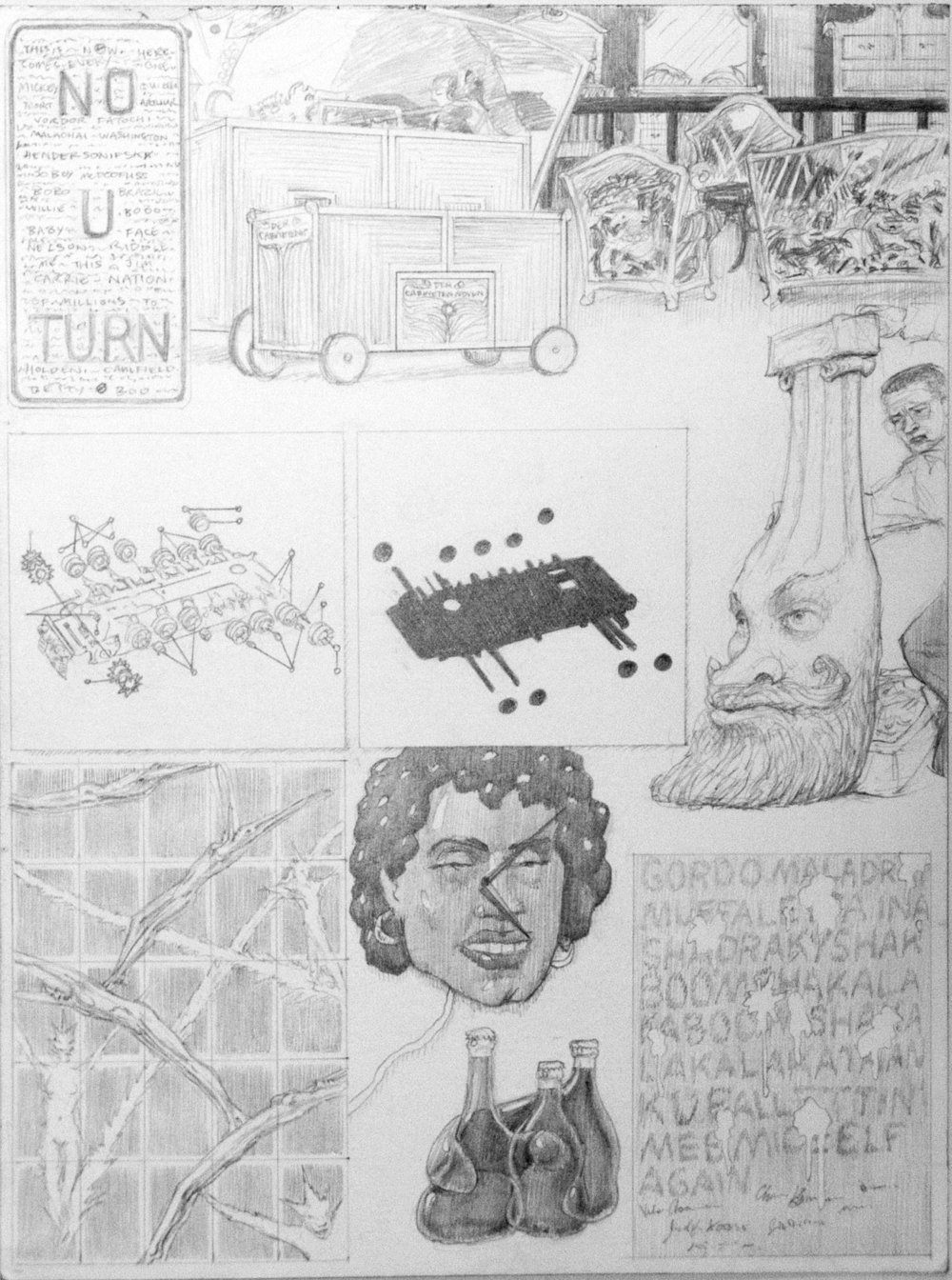 "Dream Drawing (""I was finding these metal signs with obsessive writing etched on them by teen gang types, typically their names...""), 1998 graphite on paper 43,5 x 35,5 cm - 17 1/8 x 14 inches (framed)"