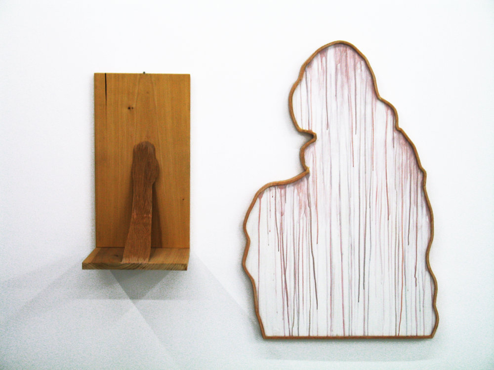 "Dream Object (""I was carrying these pieces to a Lace meeting: a drippy figure & an L-shape with an arm reaching from one plane to the other...""), 1997 wood and acrylic on board 58 x 91,5 x 3 cm - 22 7/8 x 36 x 1 1/8 inches"