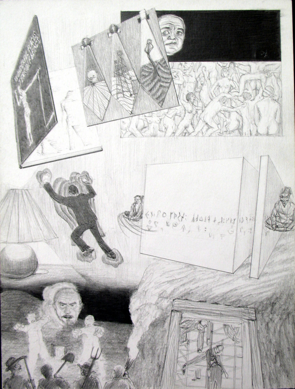 "Dream Drawing (""In a thrift store, I saw a Salvadore Dali cartoon book called Wonderful places terrible beings but the insides were misprinted they smeared to grey, except the left edges...""), 1996 graphite on paper 30,5 x 22 cm - 12 x 8 5/8 inches"