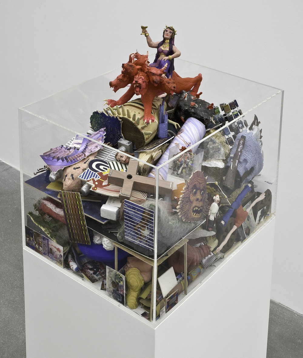 "Dream Object (""I was working on a landscape sculpture that was actually a big garbage pile of all the dream objects I'd done...""), 2007 mixed media sculpture, plexiglas case 102 x 47 x 36,8 cm - 40 1/8 x 18 1/2 x 14 1/2 inches"