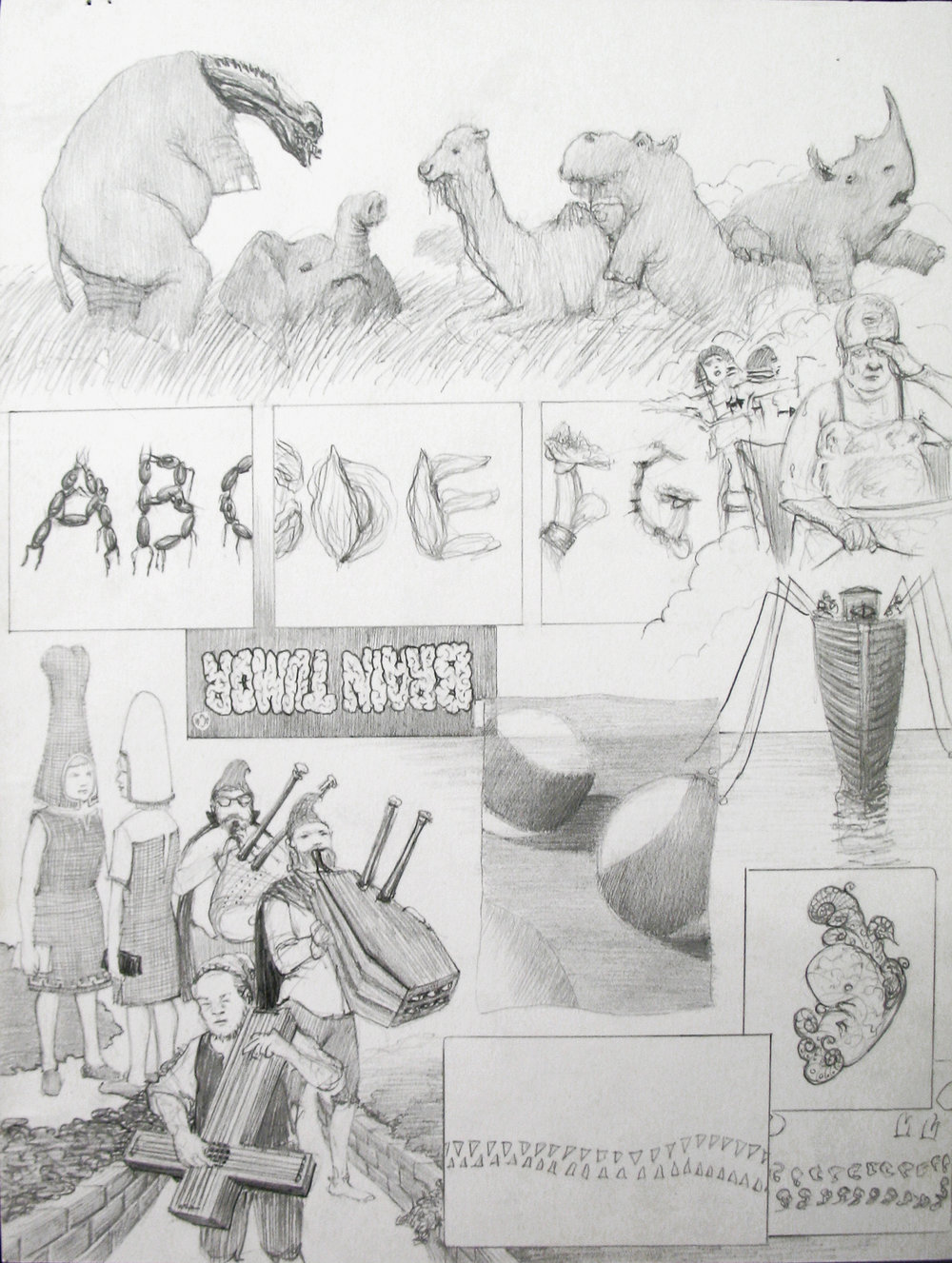 "Dream Drawing (""An alien 4 promo took place in pastoral N. Africa. Rodney Dangerfield was an ancient Egyptian mucky muck whose men were shot with arrows...""), 1996 graphite on paper 42 x 34,5 cm - 16 1/2 x 13 5/8 inches (framed)"