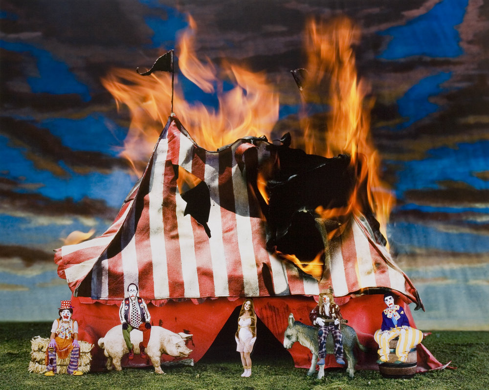 The Great Circus Fire, 2008 collage on archival pigment print mounted on Sintra 101,6 x 127 cm - 40 x 50 inches