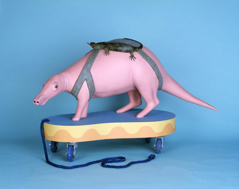 Aardvark, 2008 wood, foam, aqua resin, surfacing veil, plastic, acrylic paint, castor wheels and rope 76 x 137 x 51 cm - 30 x 54 1/32 x 20 inches