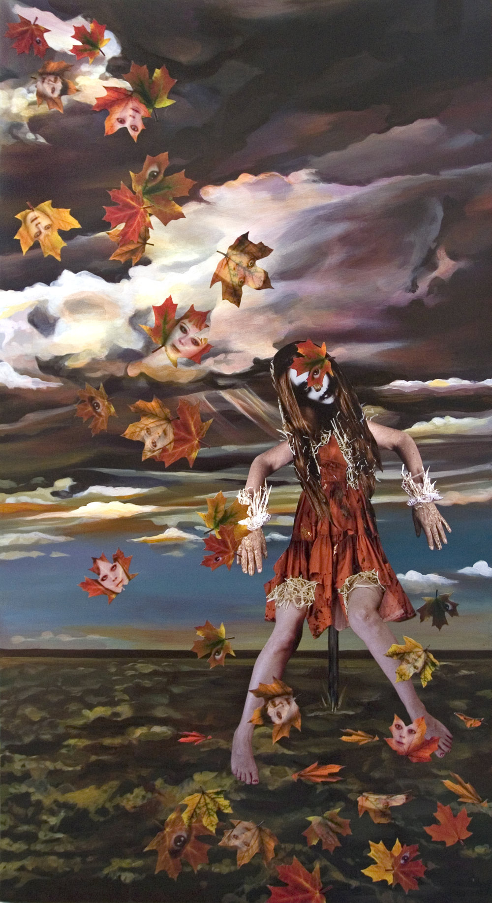 Fall Scarecrow and The Gathering Storm, 2013 collage and acrylic paint on panel 167,6 x 91,5 x 6,4 cm - 66 x 36 x 2 1/2 inches